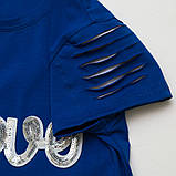 Летний комплект для девочки р.128,134 SmileTime футболка и капри Lovely, синий с белым, фото 2
