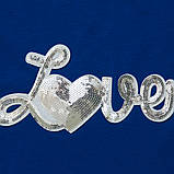 Летний комплект для девочки р.128,134 SmileTime футболка и капри Lovely, синий с белым, фото 3