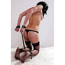 Набор из натуральной кожи для бондажа БДСМ, секс игр, секс шоп. наручники, манжеты на ноги. B-4
