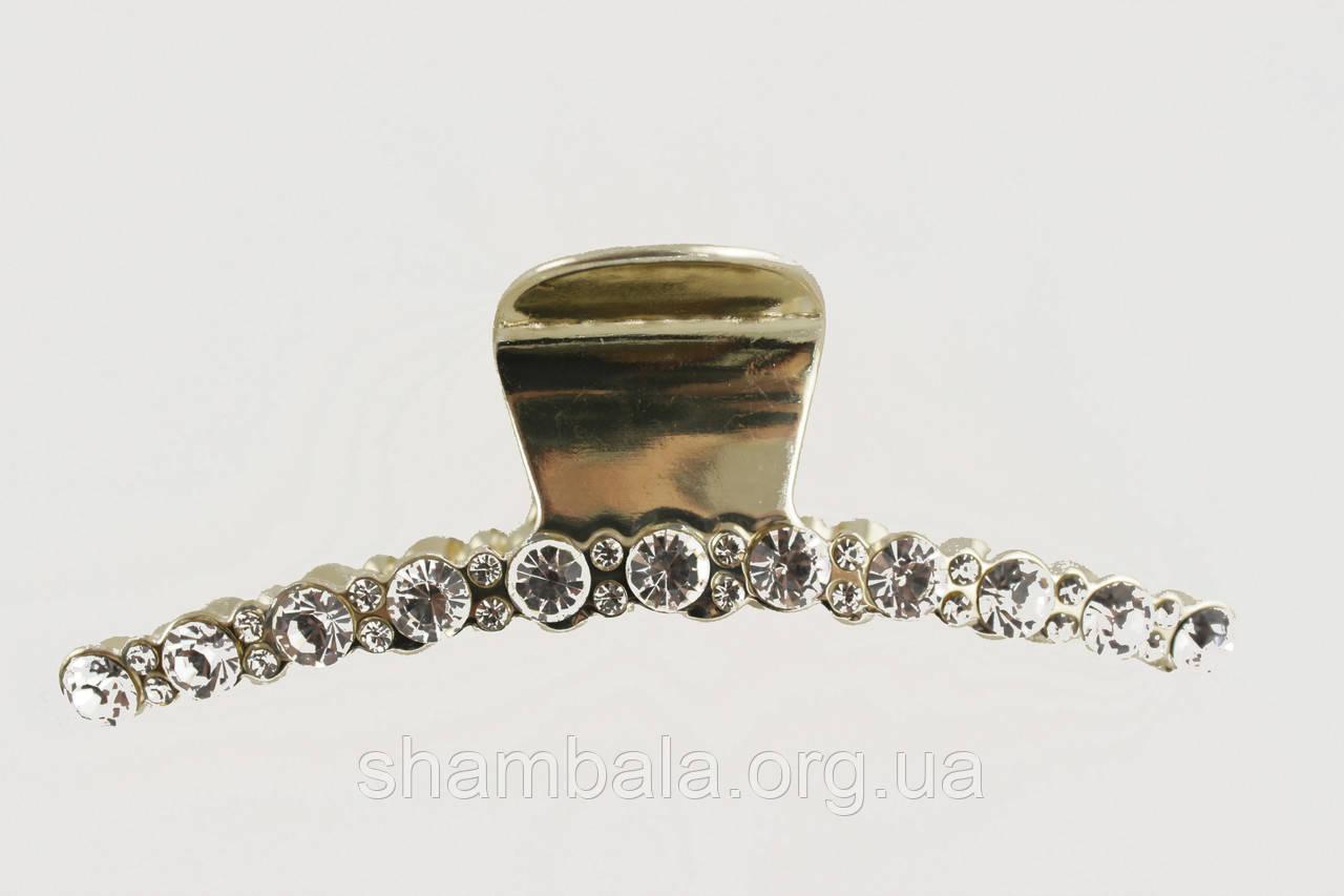 Металлическая заколка для волос Краб Золотой с Камнями  11.5 х 4 х 2.5 см (090115)