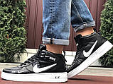 Кроссовки Найк Аир Форс мужские черно-белые демисезонные Nike Air Force чорні демісезонні найк аір, фото 5