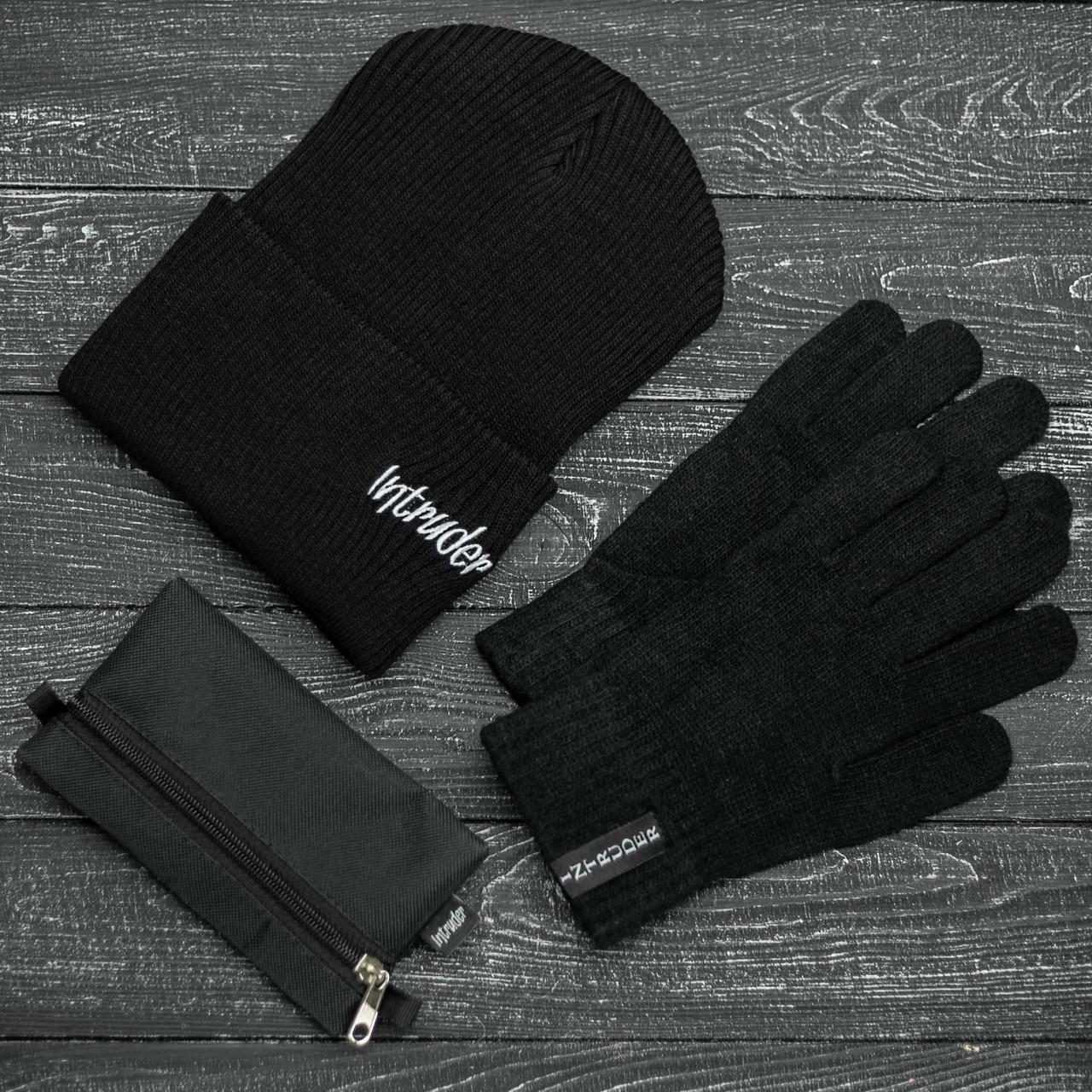 Шапка Мужская/ Женская Intruder зимняя small logo и перчатки зимний комплект черный