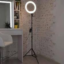 Кольцевая led лампа мощная светодиодная 30 см с держателем для смартфона на штативе 2,1 метра