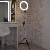 Кольцевая led лампа мощная светодиодная 30 см с держателем для смартфона на штативе 2,1 метра, фото 1