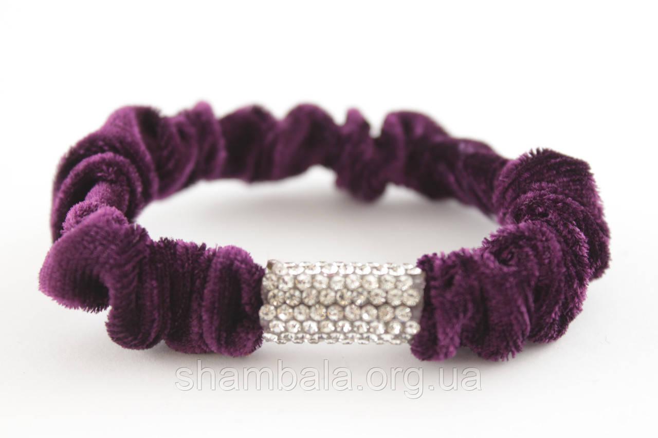 """Велюровая резинка для волос со стразами """"Цилиндр"""" Фиолетовый (061887)"""