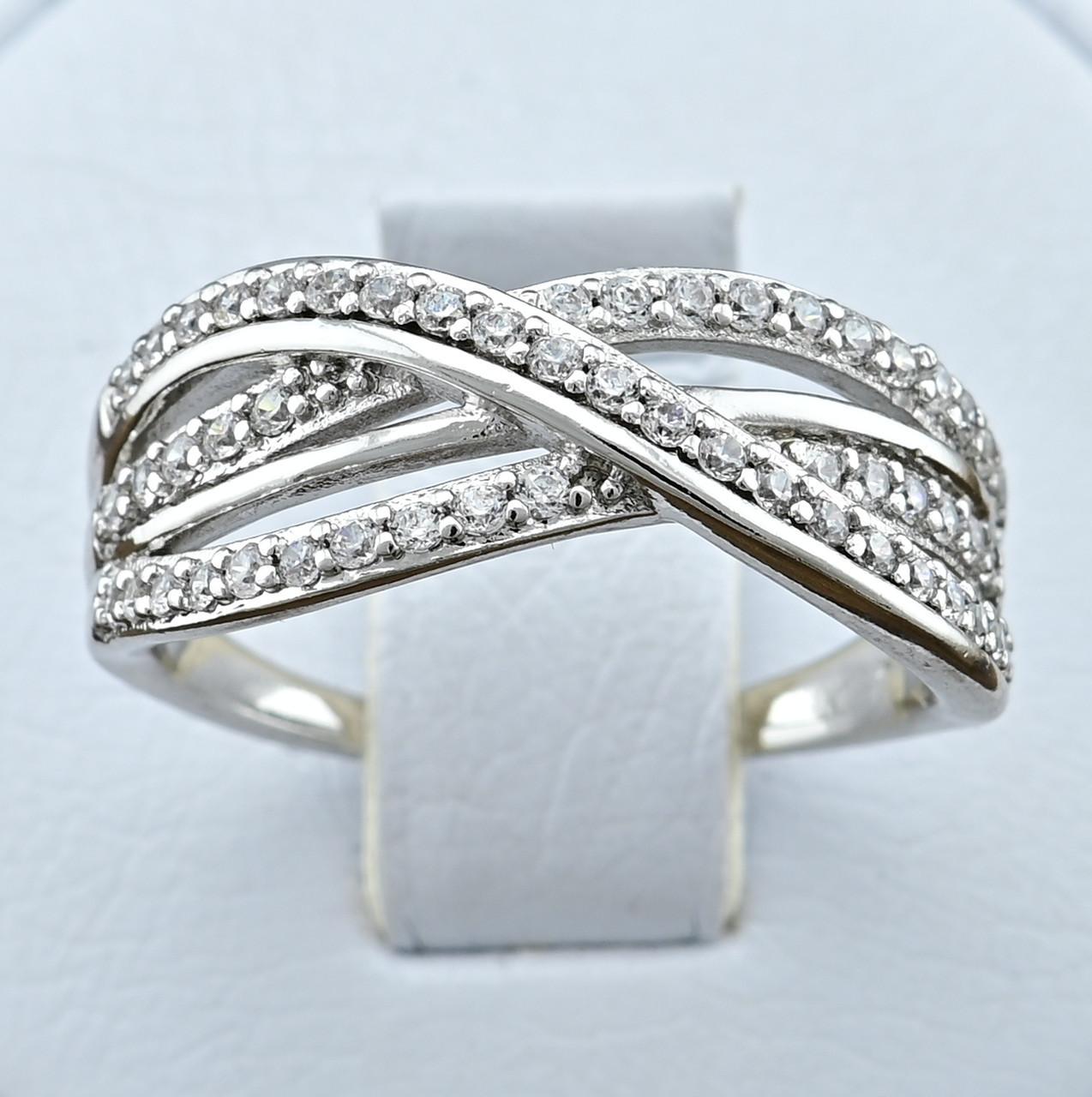 Кольцо Xuping 14351 размер 18 ширина 8 мм вес 3.2 г белые фианиты позолота Белое золото