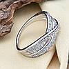 Кольцо Xuping 14351 размер 18 ширина 8 мм вес 3.2 г белые фианиты позолота Белое золото, фото 4