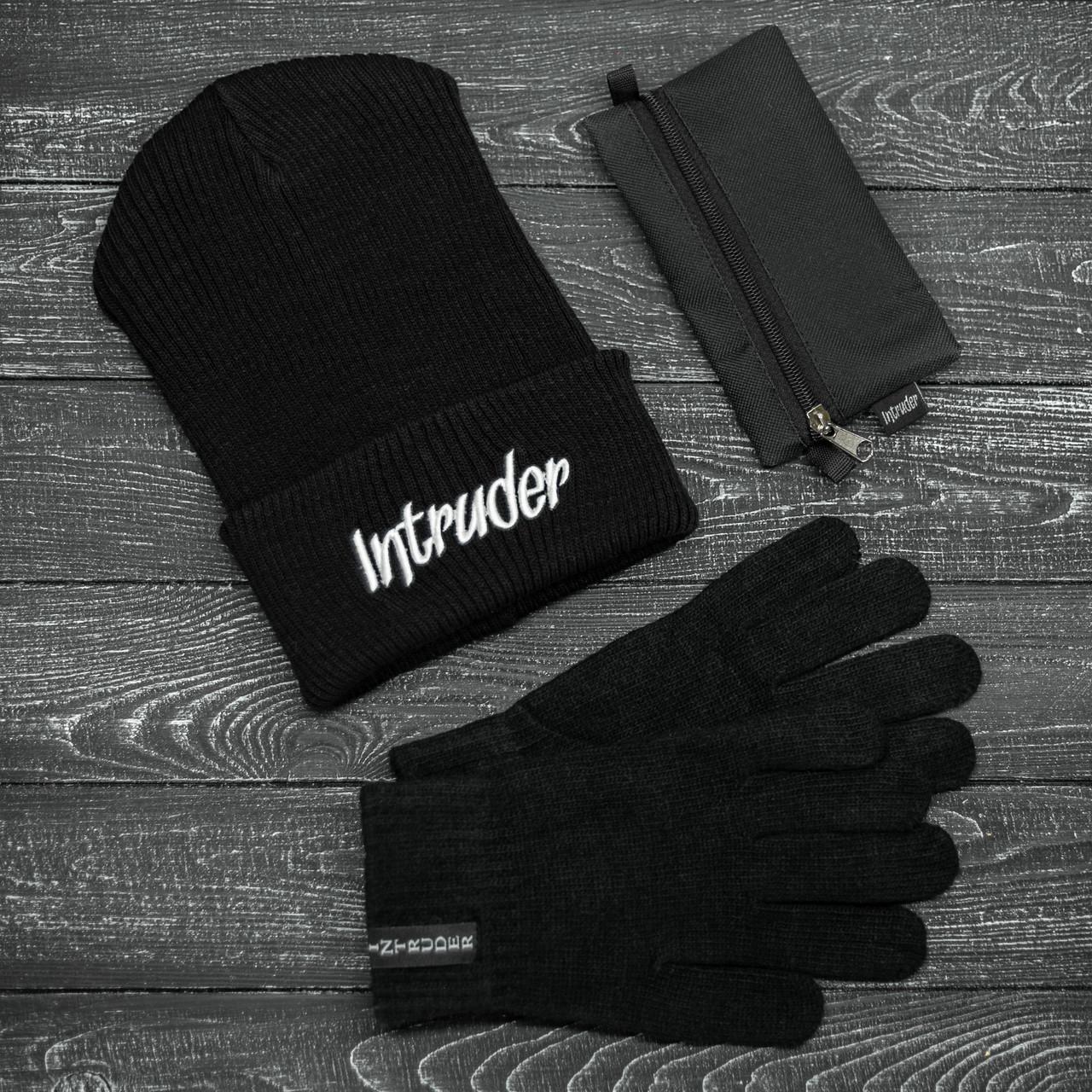 Шапка Мужская/ Женская Intruder зимняя big logo и перчатки зимний комплект черный