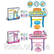 Синтезатор  37 клавиш, стульчик, микрофон, муз, звук, свет, запись, демо, USBзарядное, 2цвета, 6617-6617A