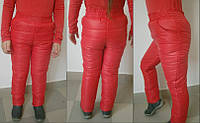 Зимние утепленные брюки для девочки  красные