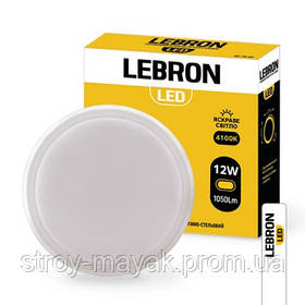 Светильник светодиодный LED LEBRON L-WLR-S 12W, 4100K, 1050LM, круглый с датчиком движения СВЧ