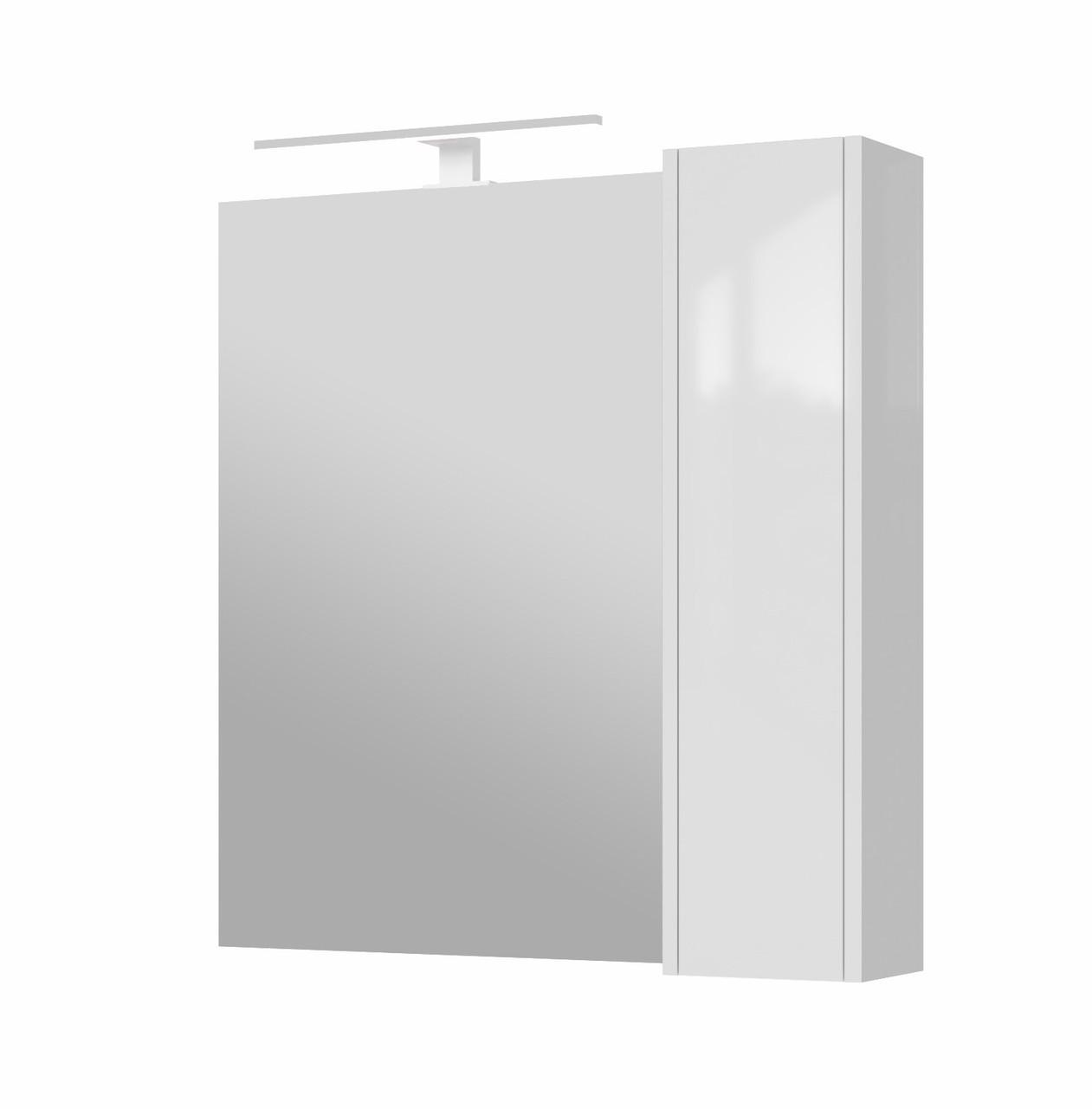 Зеркало в ванную JUVENTA Bronx BrxMC-80 белое с подсветкой и шкафчиком
