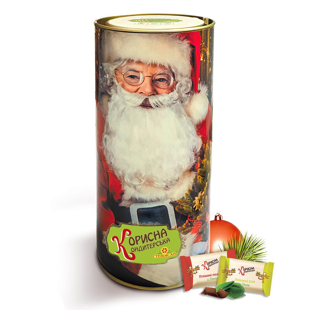 Новорічний набір цукерок без цукру на стевії в тубусі, 290 г