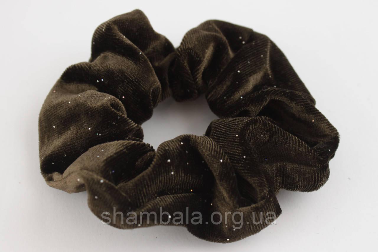 """Резинка для волос велюровая с нежными блестками """"Elegant velor"""" Тёмно-коричневый (091327)"""