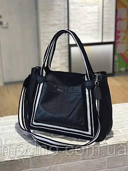 Женская сумка из водоотталкивающего текстиля и натуральной кожи
