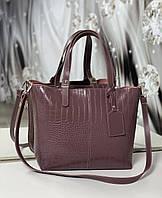 Большая женская сумка шоппер городская на плечо модная брендовая пудровая рептилия экокожа, фото 1