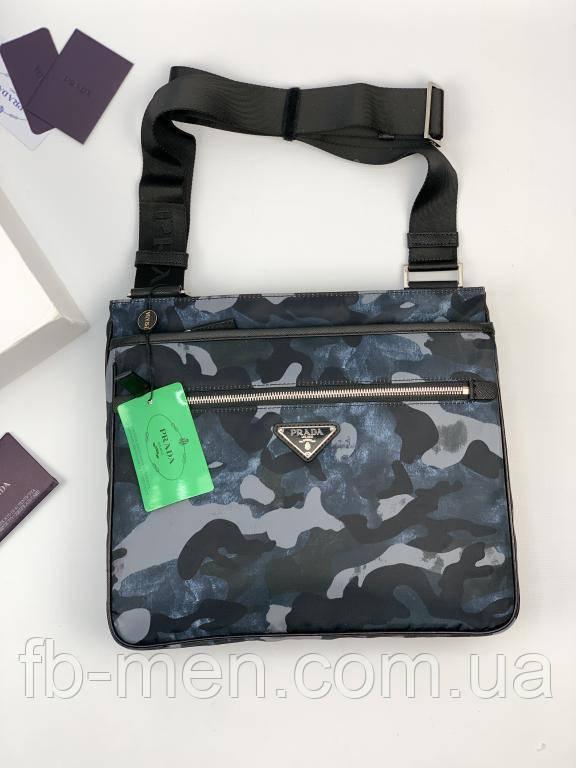 Мессенджер Prada текстильный расцветка синий камуфляж|Сумка Прада камуфляж мужская