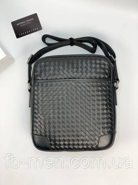 Мессенджер Боттега Венета черный передним карманом  Мужская планшетка Боттега Венета вместительная кожа