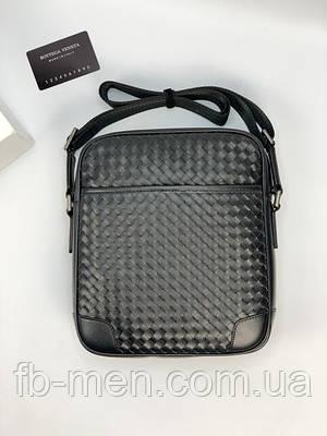 Мессенджер Боттега Венета черный передним карманом| Мужская планшетка Боттега Венета вместительная кожа