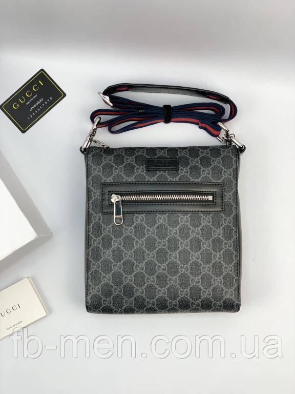 Мессенджер Gucci серого цвета маленький Сумка на плече Гуччи Вместительная сумка Гуччи с передним карманом