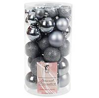 Елочные новогодние шары из пластика, микс размеров и фактур набор 40 шт