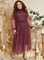 50-60 р. Женское вечернее платье миди большого размера их сетки с пайеткой