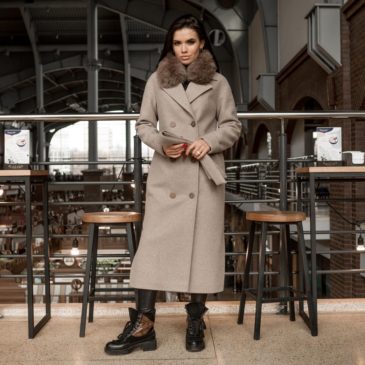 Трендовое удлиненное зимнее пальто Торонто мокко