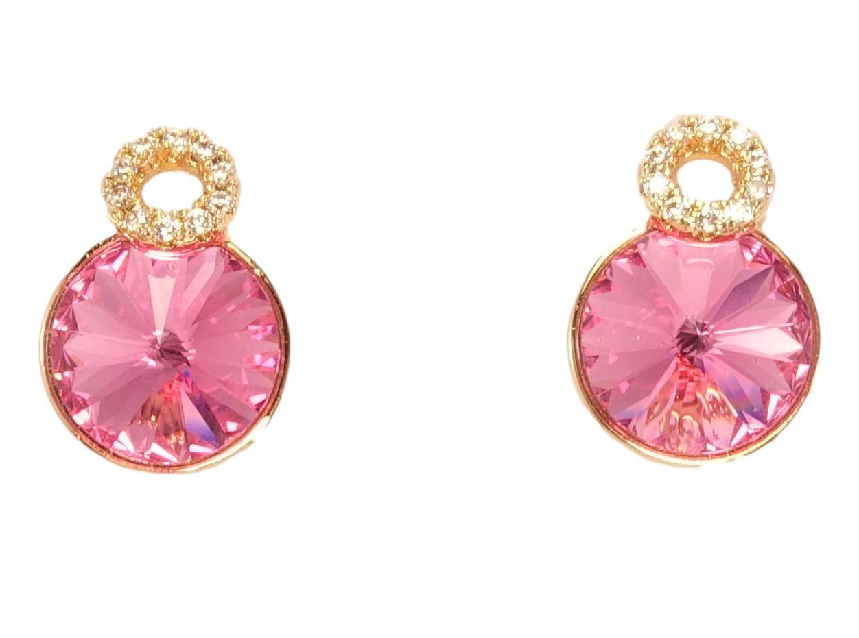 """Сережки ХР Позолота 18K з кристалами Swarovski гвоздики """"Рожевий Куполоподібний Кристал і Коло Цирконій"""""""