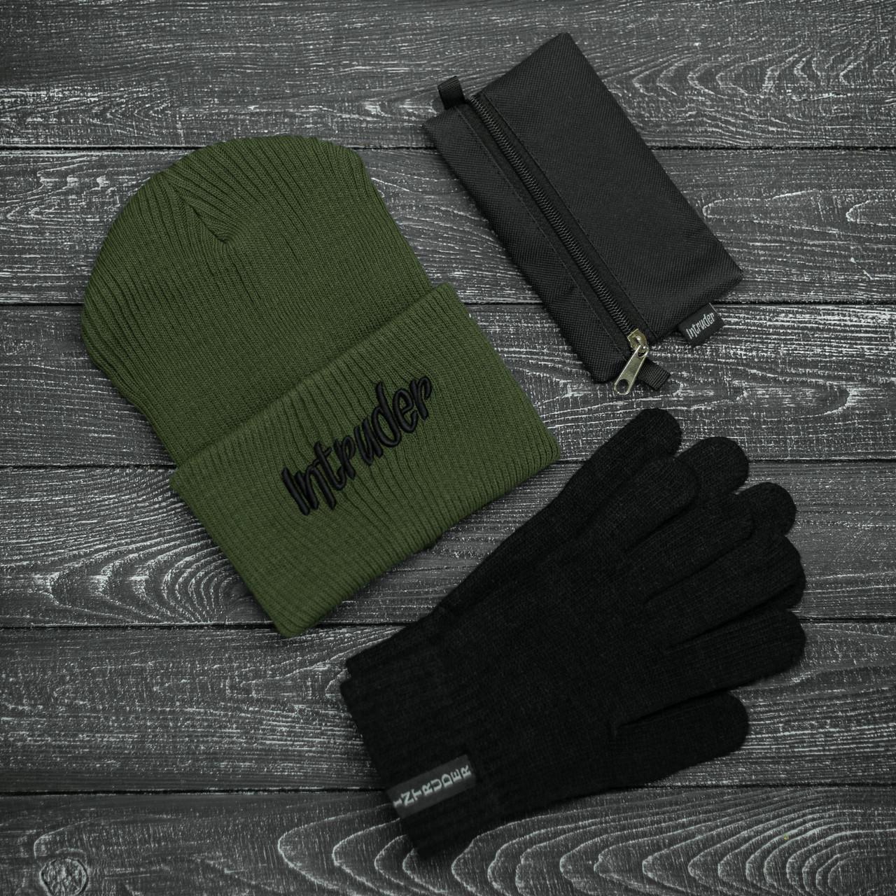 Шапка Мужская/ Женская Intruder зимняя big logo хаки и перчатки черные, зимний комплект