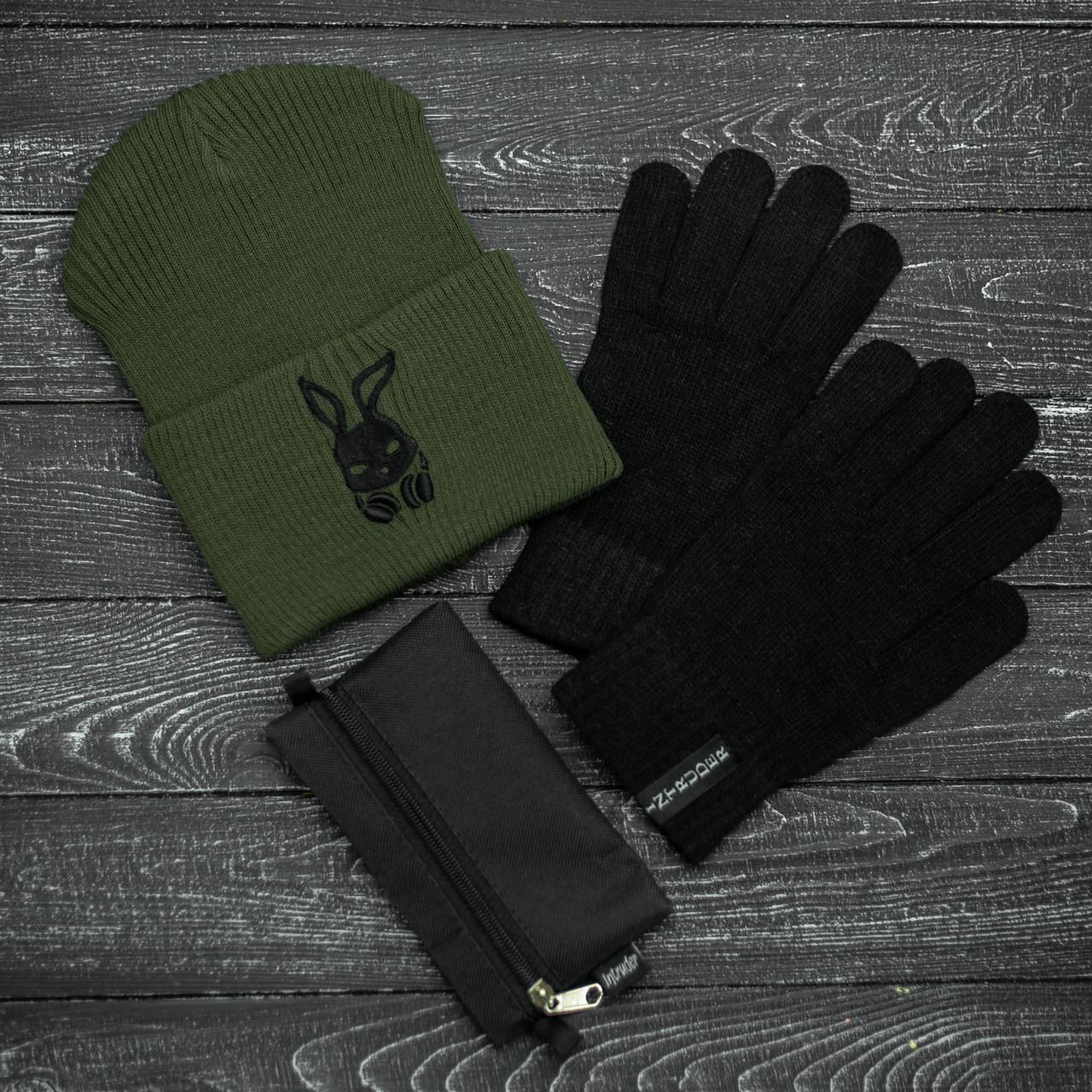 Шапка Мужская/ Женская Intruder зимняя bunny logo хаки и перчатки черные, зимний комплект