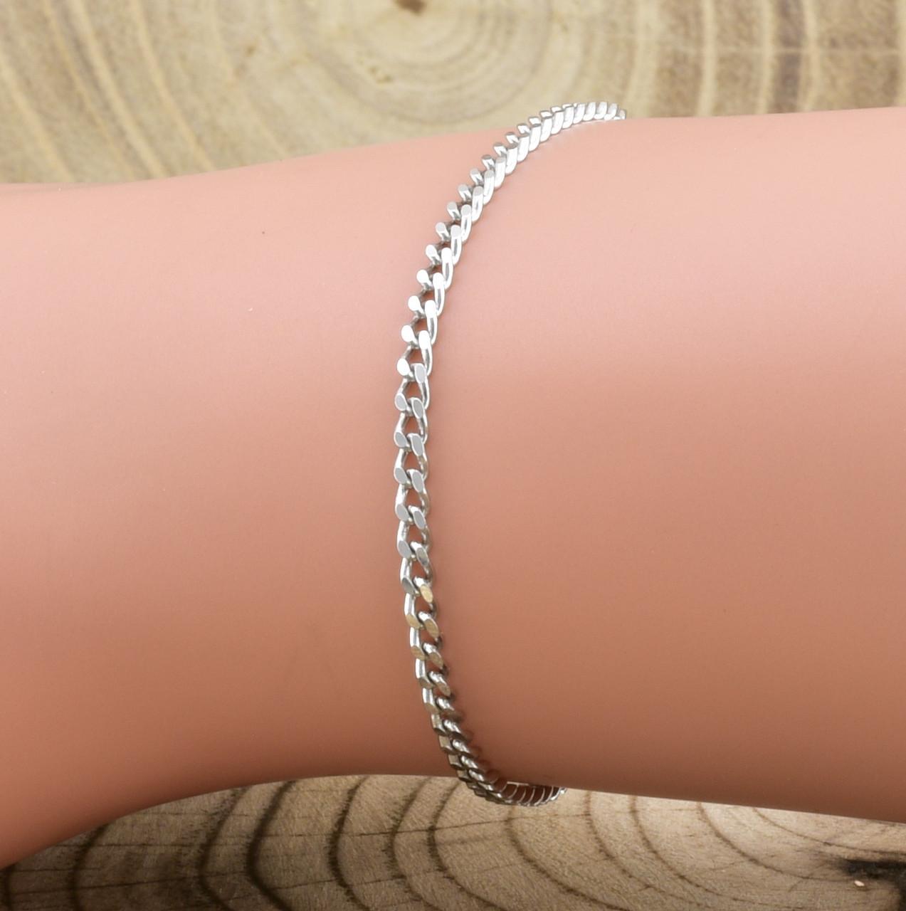 Серебряный браслет родированный Панцирный длина 16 см ширина 2 мм вес серебра 1.6 г