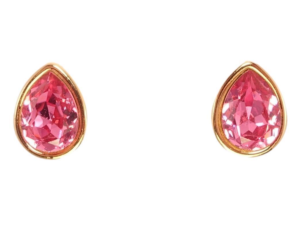 """Серьги ХР Позолота 18K с кристаллами Swarovski гвоздики """"Розовый Грушевидный Кристалл в Глухой Оправе"""""""