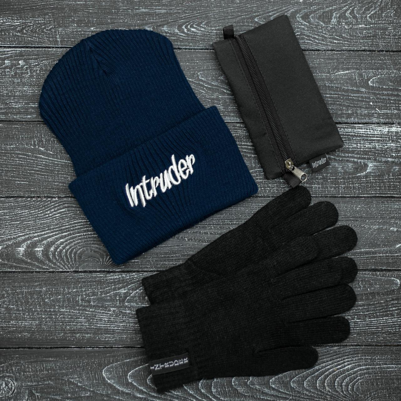 Шапка Мужская/ Женская Intruder зимняя big logo синяя и перчатки черные, зимний комплект