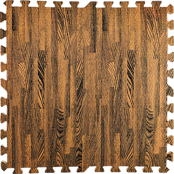 Мягкий пол пазл (60х60х1 см) коричневое дерево напольное модульное покрытие