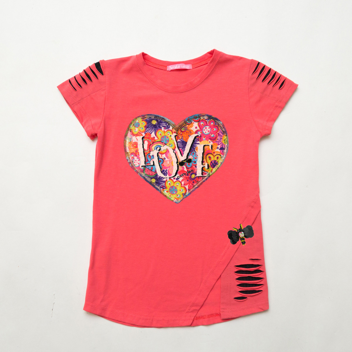Модная футболка для девочки р.134 SmileTime с уголком Lovely, коралл