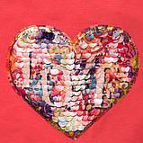 Модная футболка для девочки р.134 SmileTime с уголком Lovely, коралл, фото 4