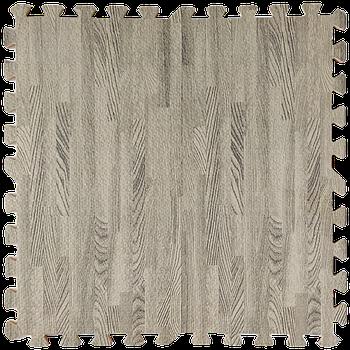 Мягкий пол пазл (60х60х1 см) серое дерево напольное модульное покрытие