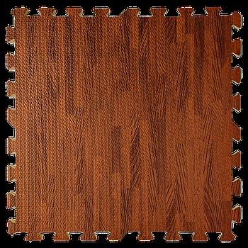 Мягкий пол пазл (60х60х1 см) темное дерево напольное модульное покрытие