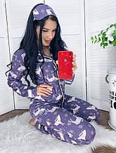 Женская пижама штаны на резинке и кофточка на пуговках  повязка в комплекте размер 42-44.44-46.46-48.50-52