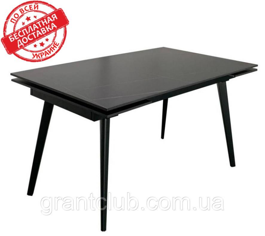 Обеденный стол HUGO LOFTY BLACK 140/200х82 черная керамика Concepto (бесплатная доставка)