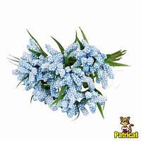 Тычинки голубые с листиками 24 шт/уп на проволоке