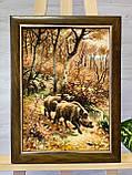 Картина из янтаря Охота на кабана, Картина з бурштина Мисливство на кабана 30x40 см, фото 2