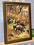 Картина из янтаря Охота на кабана, Картина з бурштина Мисливство на кабана 30x40 см, фото 4