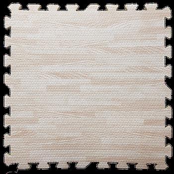 Мягкий пол пазл (60х60х1 см) светлое дерево напольное модульное покрытие