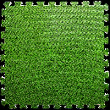 Мягкий пол пазл (60х60х1 см) зеленая трава напольное модульное покрытие