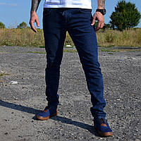 Мужские джинсы Dolce & Gabbana Темно синие зауженyые на резинке slim fit