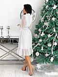Красиве ніжне жіноче шифонова сукня-міді вільного крою з воланом внизу р. 42-48, фото 5