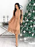 Красиве ніжне жіноче шифонова сукня-міді вільного крою з воланом внизу р. 42-48, фото 6
