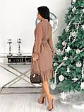 Красиве ніжне жіноче шифонова сукня-міді вільного крою з воланом внизу р. 42-48, фото 3
