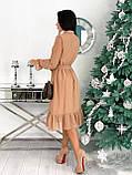 Красиве ніжне жіноче шифонова сукня-міді вільного крою з воланом внизу р. 42-48, фото 7